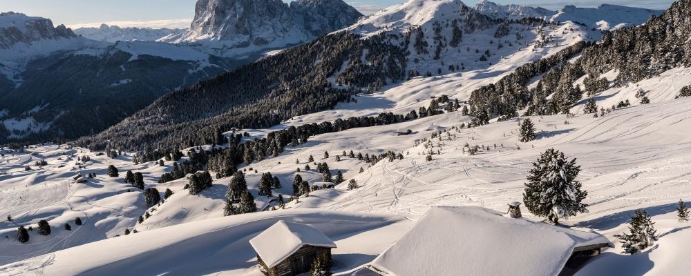 Seceda cableways in Ortisei in Val Gardena in the Dolomites
